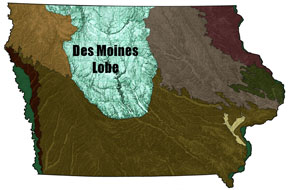 map showing Des Moines Lobe