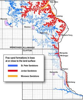 frac sand deposits map