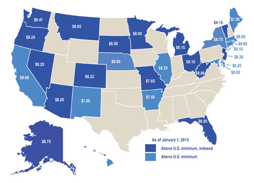 State minimum wages higher than U.S. minimum on Jan. 1, 2015