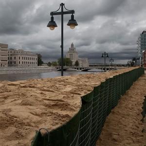 Sand barriers in Cedar Rapids, Iowa Flood Center picture.